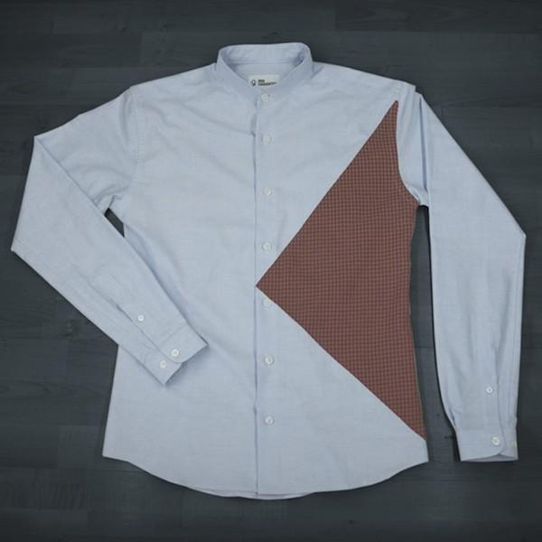 chemise-bleue-ciel-oxford-plastron-marron-afterwork